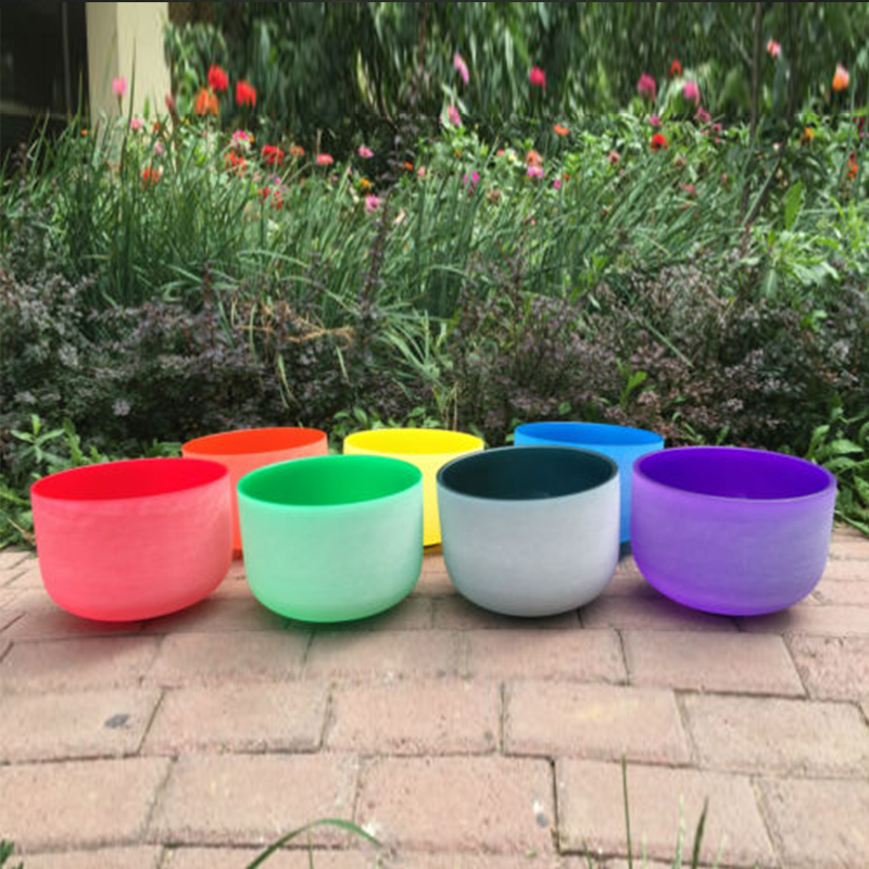 TOPFUND Perfect Pitch Tuned Chakra Set 7PCS Colored Frosted Quartz Crystal Singing Bowls 8''-12''-local shipping chakra tuned set of 7 frosted gem fused quartz crystal singing bowls 8 12 8a b g 10 c d e and 12 f