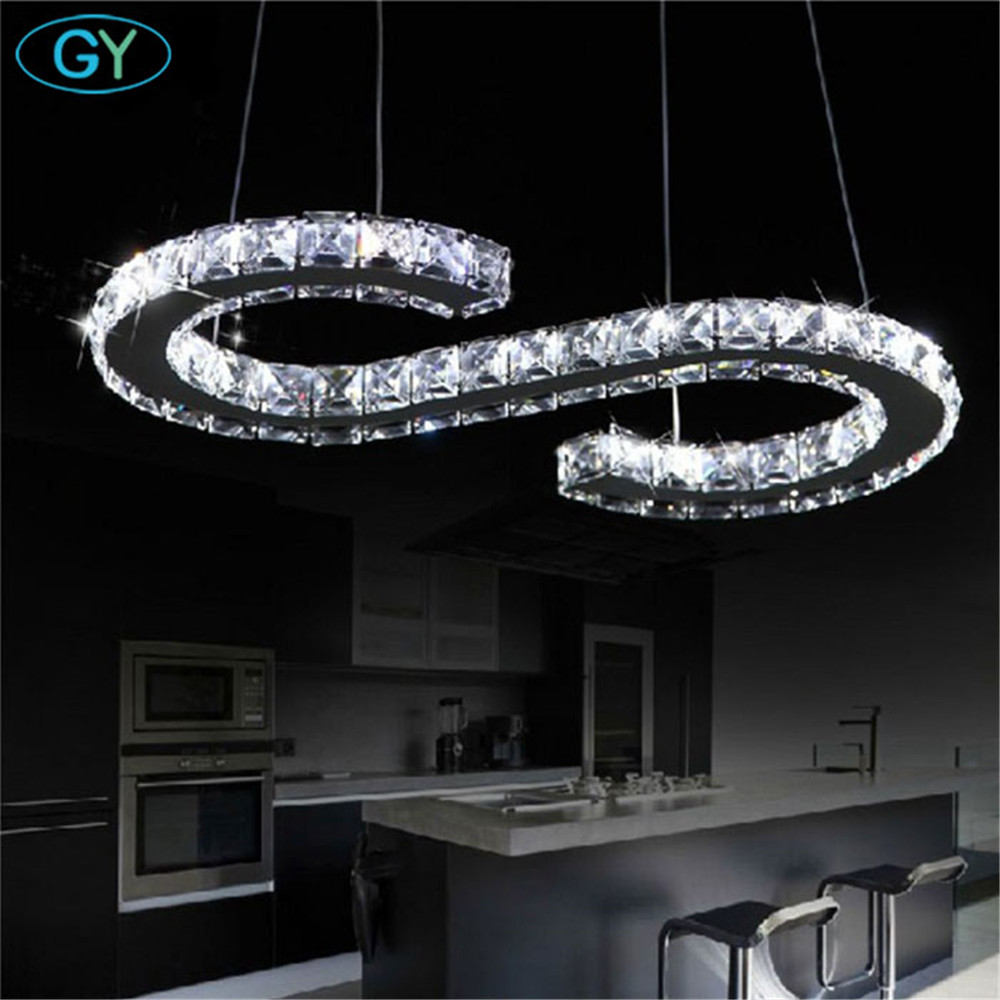 Us 99 Ac110 240v 23w S Letter Led Crystal Pendant Lights Clear Modern Lamp Lampadari Moderni A Sospensione Kitchen In