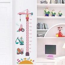 Cartoon tower crane height measurement wall stickers for baby room cute kawaii kids wall decals children bedroom wall mural цена в Москве и Питере