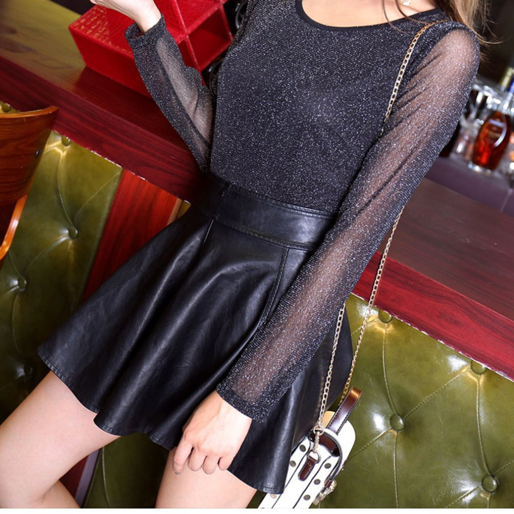 2018 Women Glitter Sheer Mesh Top New Women Long-Sleeve Casual Perspective Hollow Out Female Top Tee Sexy Shine Basic Blouses