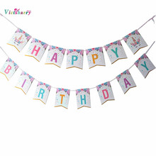 Happy Birthday Banner Baby Shower  Balloons Cake Topper For Wedding Decor Unicorn Birthday Party Supplies happy birthday banner baby shower balloons cake topper for wedding decor unicorn birthday party supplies