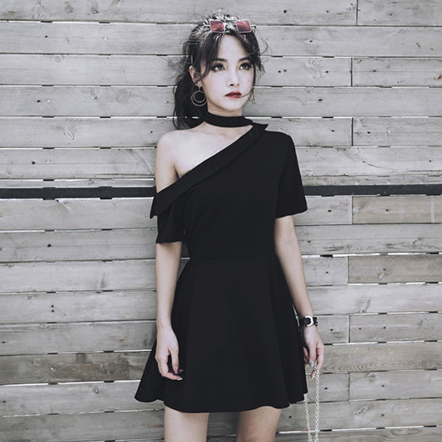b83b6d5f549 Women Dresses Sexy Asymmetric Design Summer Dress For Gothic Girl Chic  Choker Off Shoulder Design Black