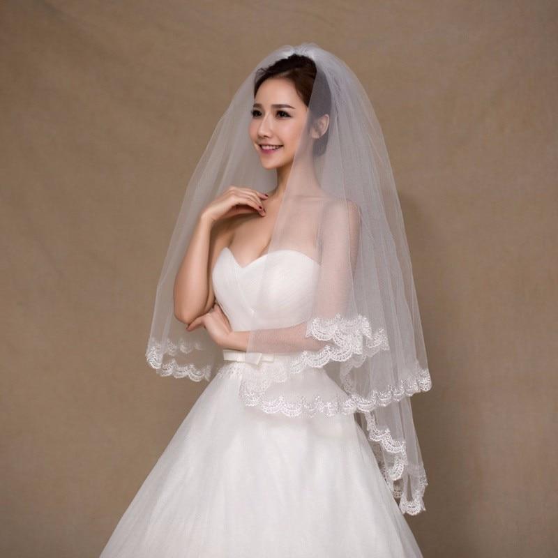 Stock White Ivory Short Bridal Veil With Comb Applique Edge Wedding Veil Accessory