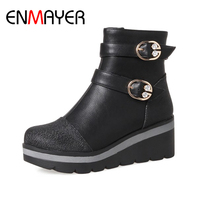 ENMAYER Ankle Boots Woman Wedges Patchwork High Heels Winter Shoes Round Toe 2017 New Fashion PLus