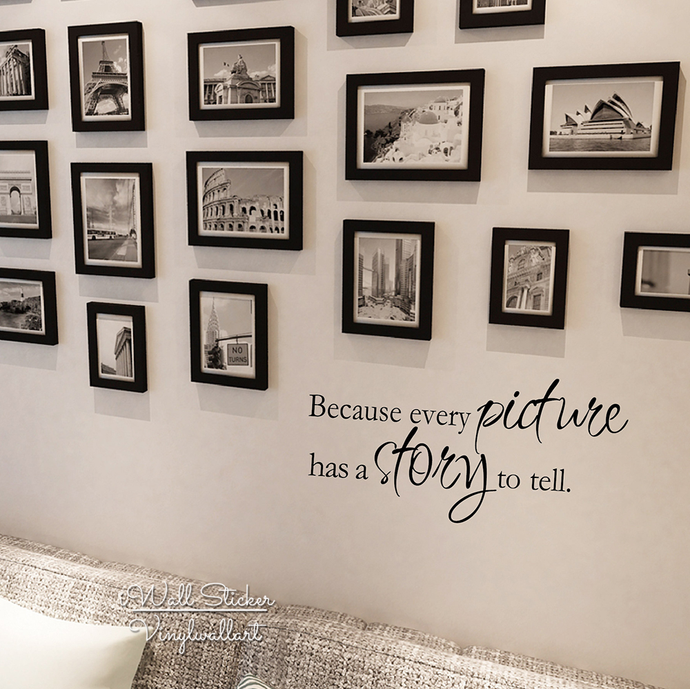 Every Picture Has A Story To Tell Quote Wall Sticker Quotes Wall Decal Family Photo Wall Quotes DIY Easy Wall Art Cut Vinyl Q128