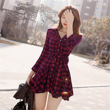 New Fashion Gift Lapel Long Sleeve Tartan Plaids Checks Mini Dress Casual Shirt Dresses Evening Party Gown LOVIW