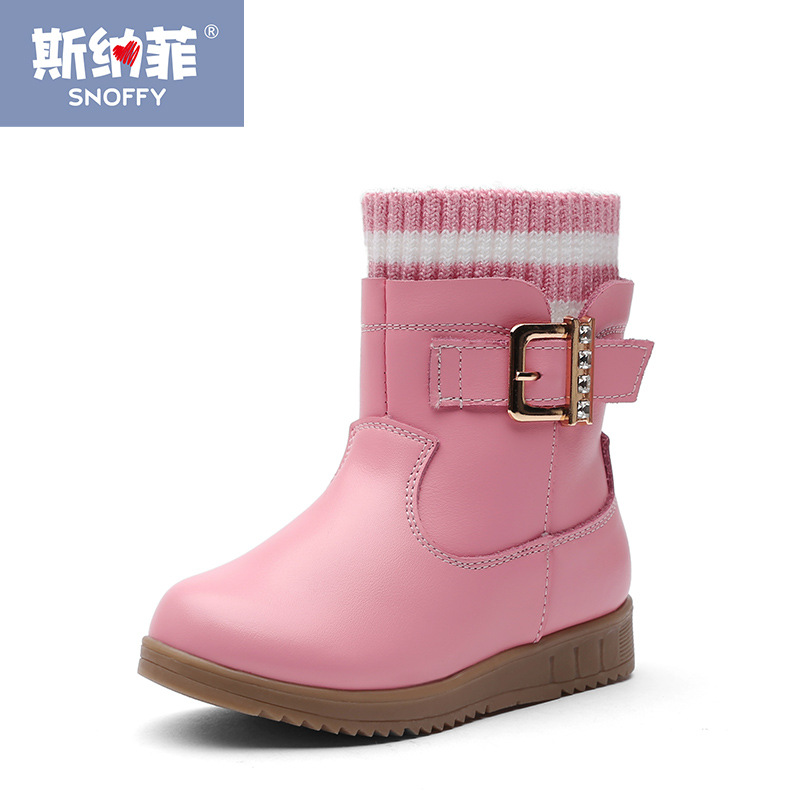 Fashion Brand Winter Shoes Warm Plush Snow Boot For Girls Genuine Leather Baby Girls Boots Princess Shoes TX162 comfy kids winter fashion child girls snow boots shoes warm plush soft bottom baby girls boots leather winter snow boot for baby
