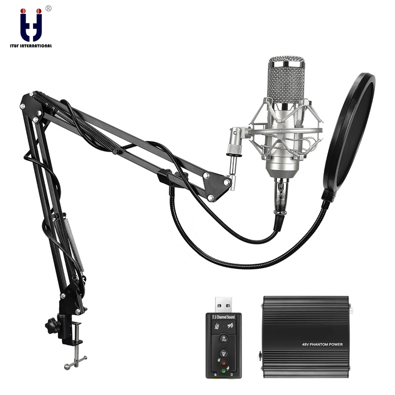 Ituf New Professional Condenser Microphone for computer bm 800 Audio Studio Vocal Recording Mic KTV Karaoke + Microphone stand стоимость