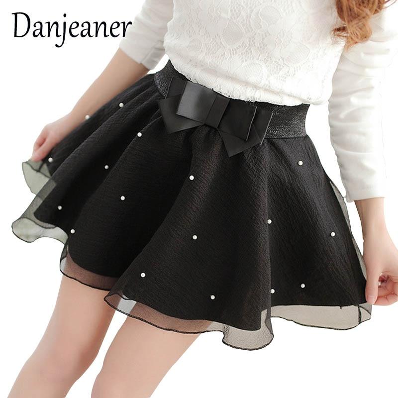 Danjeaner 2018 Korean Version High Waist Pearl Tulle Skirt Fashion Sweet Streetwear Bow Midi Skirts Black Mini Mesh Skirt