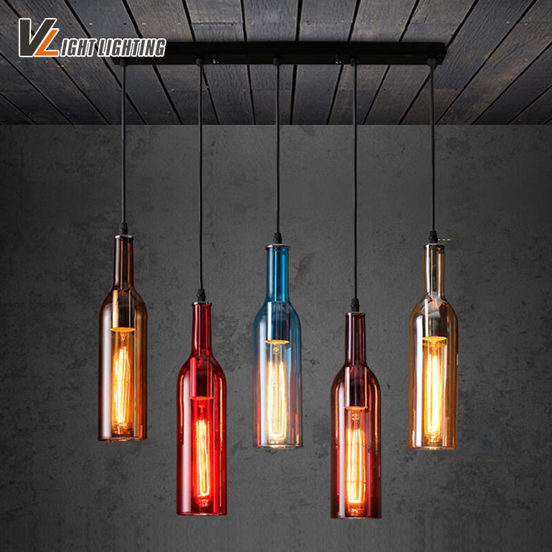 Vintage industrial loft colorful red wine bottle glass ceiling light vintage industrial loft colorful red wine bottle glass ceiling light novelty restaurant cafe bar hanging lamps hotel wine bottle in pendant lights from aloadofball Gallery