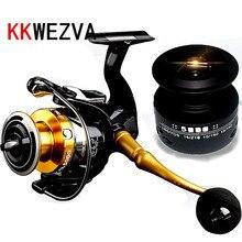 KKWEZVA Metal Fishing Reel 14 BBs 5.5: 1 Send Spare Spinning 2000-6000 CNC Rocker arm and EVA grip pill Free Shipping