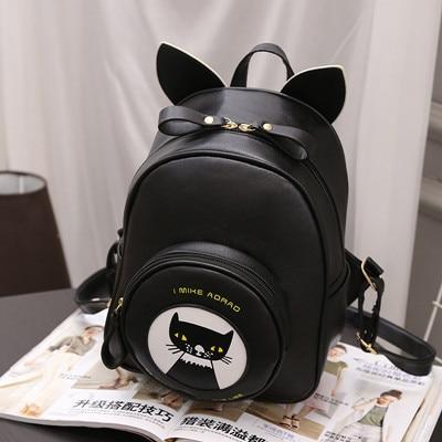 2e60de953c38 Women s mini Cat ears Backpacks PU Leather Backpacks Girl School Bag High  Quality Ladies Bags Designer Women Backpack Bolsas