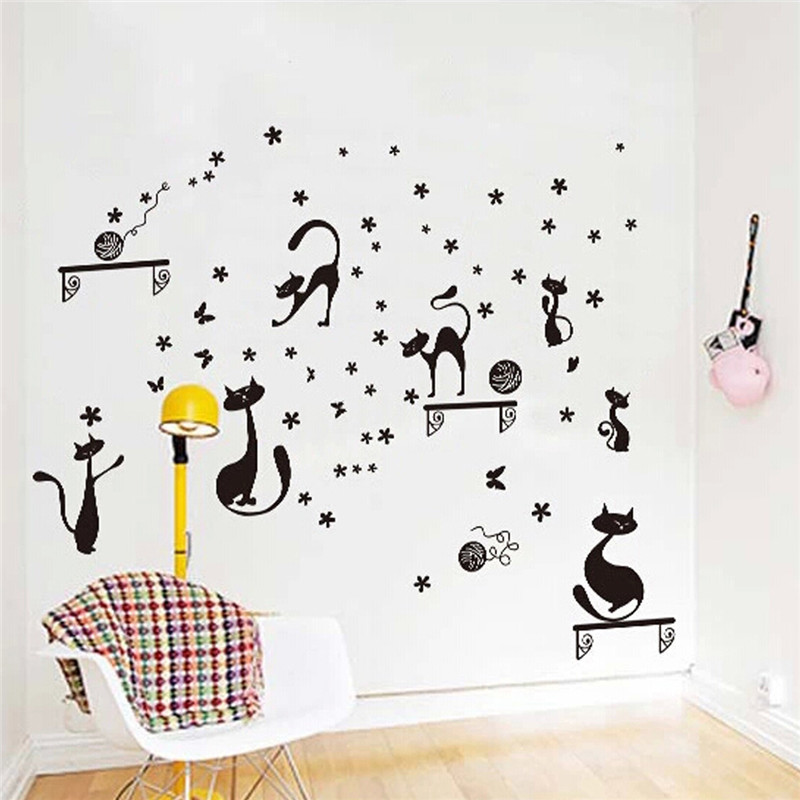 The Best Price DIY Funny Cute Cat Switch Stickers Wall Stickers Home Decoration Bedroom Parlor Decoration