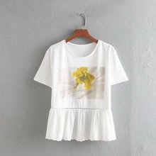Summer Women Printed T-Shirt Loose Wild O-Neck Splice Embroidered Lace T-shirt Casual Short Sleeve Tops Trend Cotoon Female Tops цена