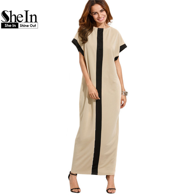 f6f0a2a76a SheIn Women Loose Long Dresses Summer Dresses Casual Color Block Pocket Round  Neck Short Sleeve Shift
