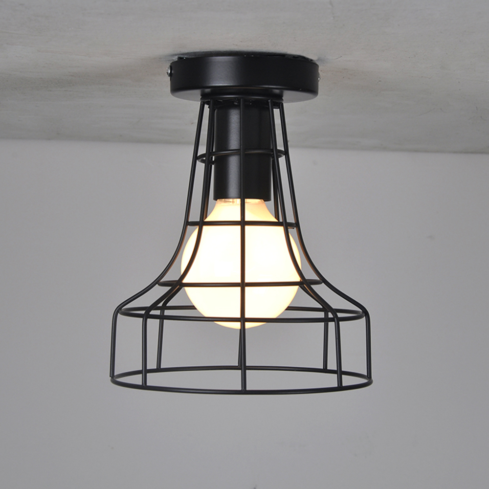 Woxoyozo two types vintage industrial ceiling light loft bird cage woxoyozo two types vintage industrial ceiling light loft bird cage lampshade hanging lamp luminarias for balcony hotel hallway in ceiling lights from aloadofball Image collections