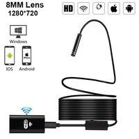 Беспроводной WiFi HD 720P 8 мм эндоскоп камера 1 м 2 м 5 м Wifi наружный USB эндоскоп бороскоп инспекция Android iPhone камера