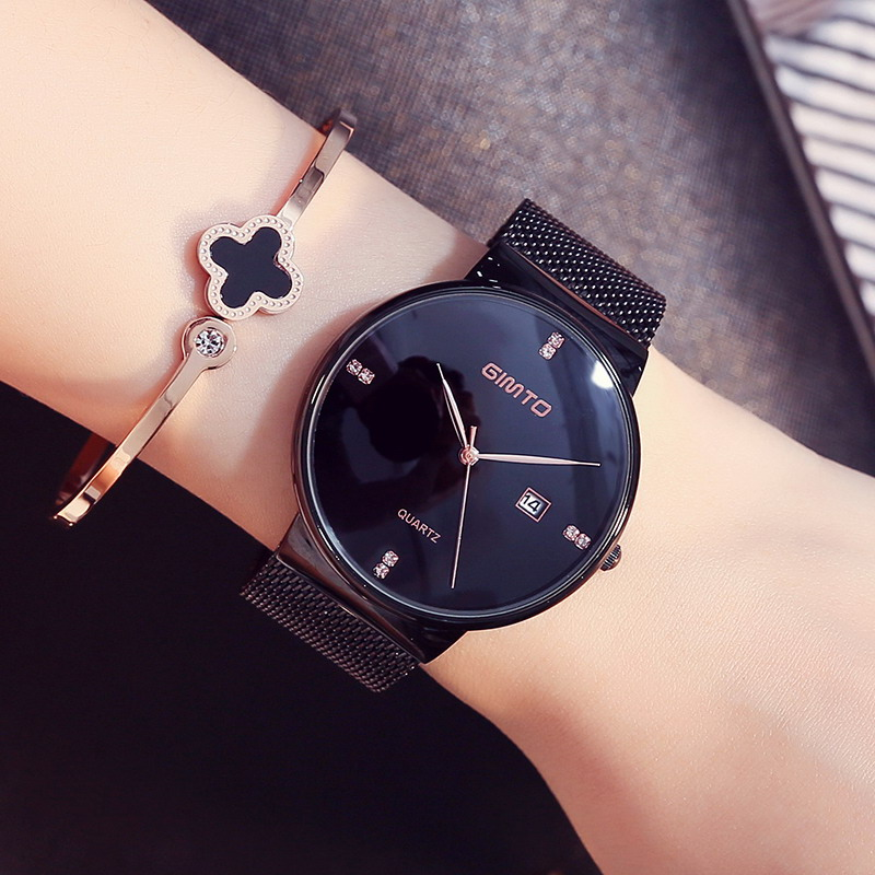 GIMTO 2018 Fashion Bracelet Women Watches Brand Luxury Steel Gold Dress Crystal Ladies Watch Casual Sport Clock Relogio Feminino gimto big dial gold black skull women watches luxury brand steel male female clock vintage ladies lovers watch relogio feminino