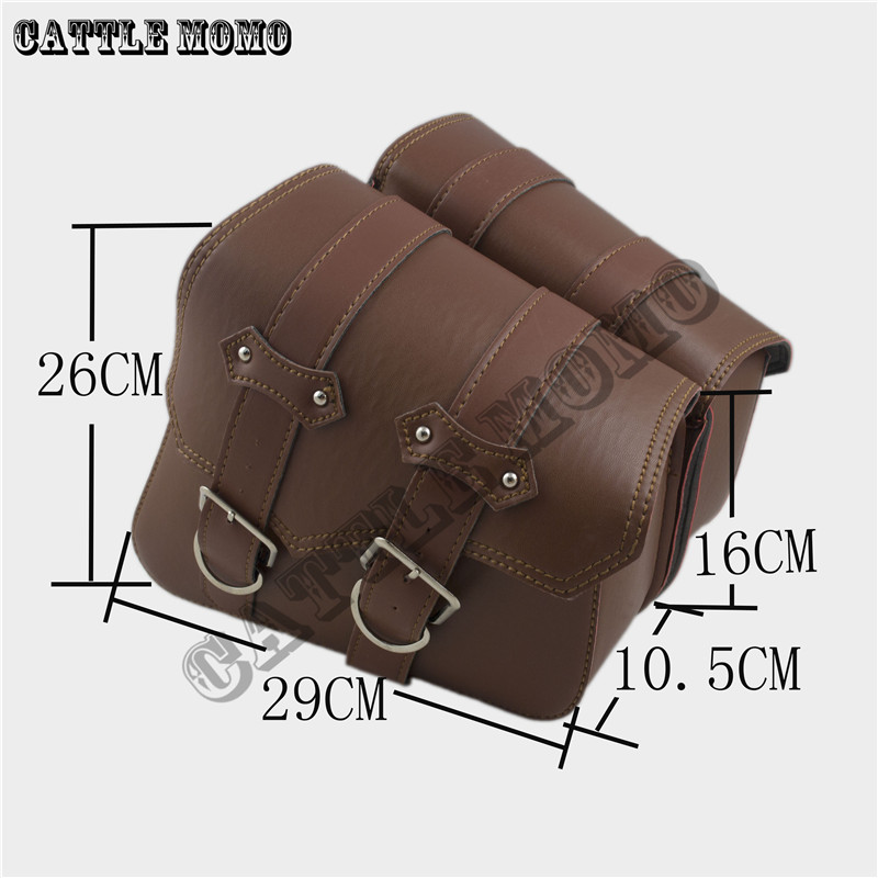 Motorcycle Saddle Bags Side Bag Brown Motor Chopper Bike Tool Bag for Sportster XL883 XL1200 Motorcycle PU Leather Bags