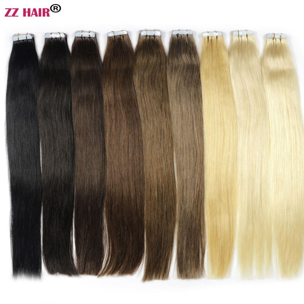 "ZZHAIR 30g-70g 14 ""16"" 18 ""20"" 22 ""24"" Maskine fremstillet Remy Tape Hair 100% Human Hair Extensions 20pcs / pack Tape In Hair Skin Weft"
