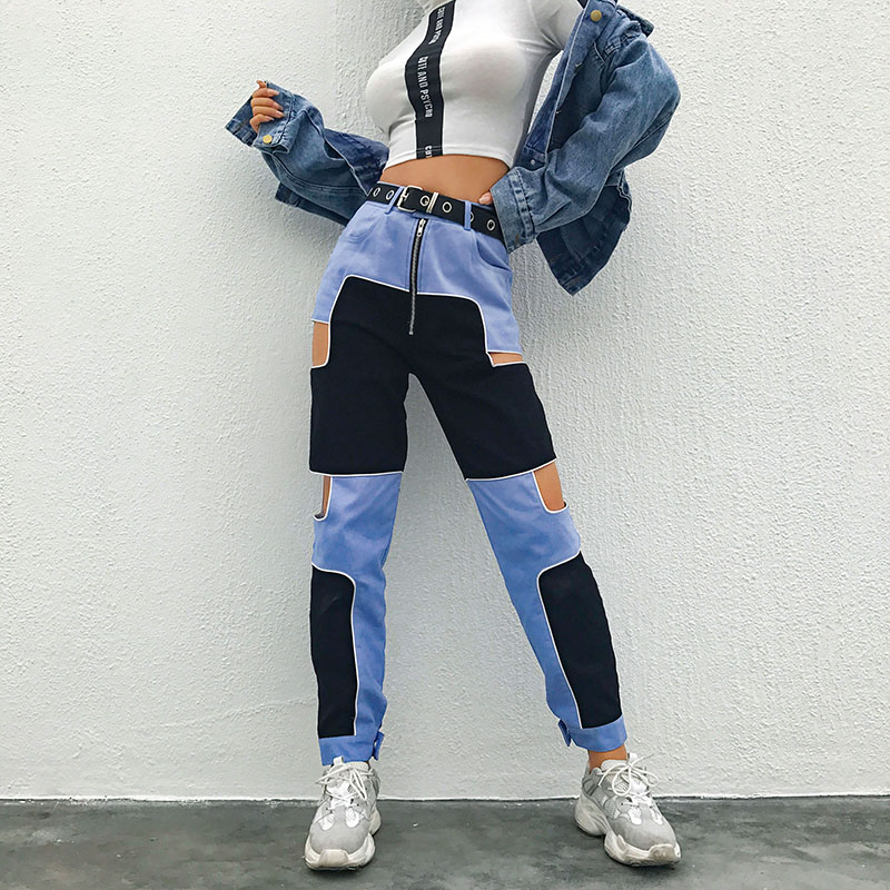 SUCHCUTE Spliced Harajuku Hip Hop Cargo Pants Women Hollow Out High Waist Trousers Streetwear Patchwork Sweatpants And Joggers