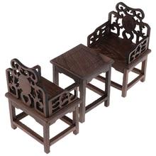 Juego de muebles de estilo Vintage Mini, juego de simulación, 1 mesa y 2 sillones para casa de muñecas 1/6 Tono de madera oscura, un mueble de juguete