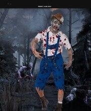 Halloween Blood Mens Uniform, Beer Festival Farmer Zombies Costumes