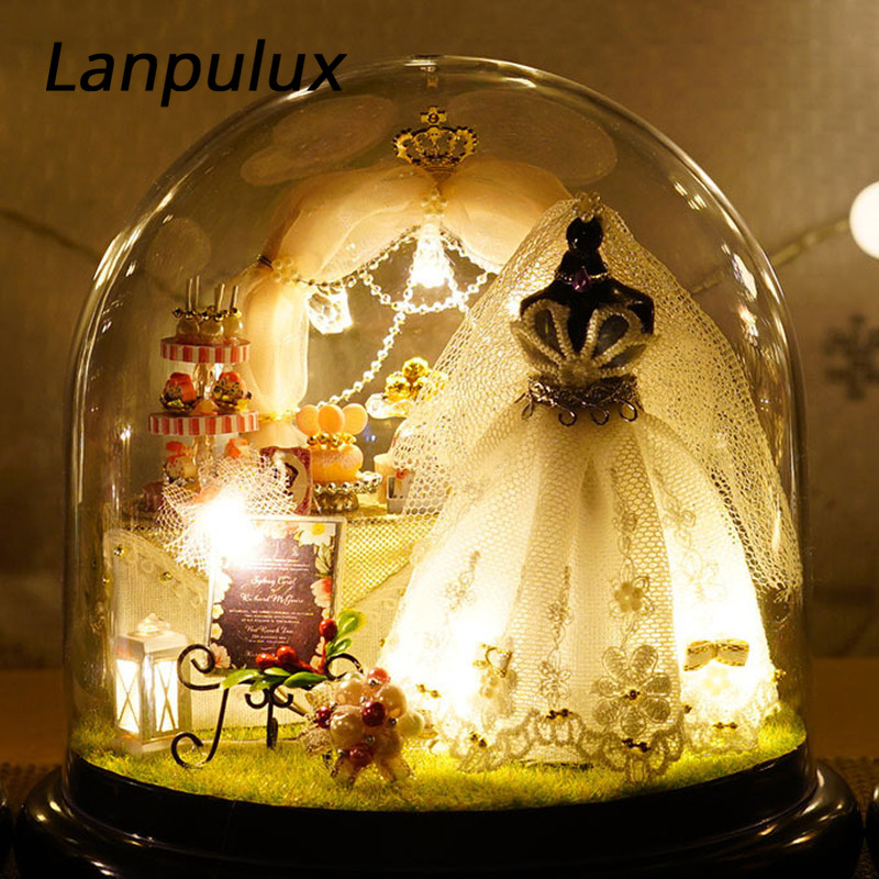 Lanpulux DIY Glass Ball Night Light Micro Landscape Romantic Wedding LED Ornaments Bedroom Decorative Lighting Girlfriend Gifts