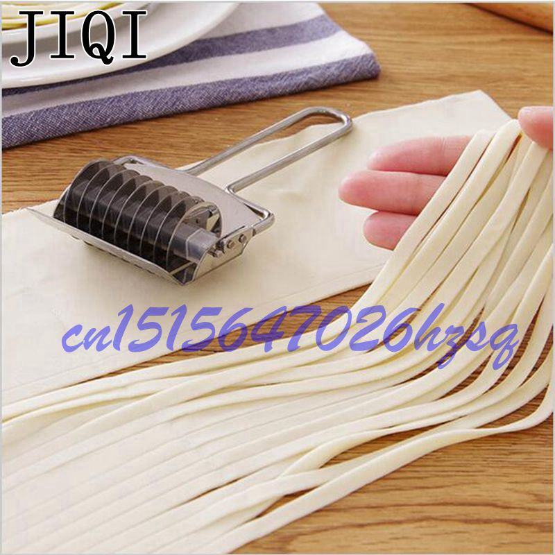 JIQI Stainless Steel Manual Noodle Making Machine Pressing Pasta Multifunction Rolling 6mm Flat Noodle Hand Operated Spaghetti