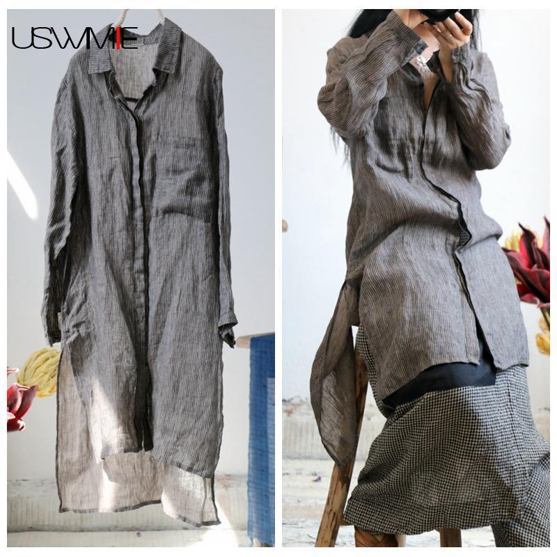 USWMIE 2018 Plus Size Women Blouses Literary Simple Pockets Dark Grey Stripe Thin Shirt Irregular Hem