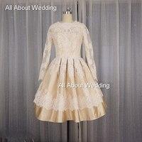 50s Vintage Style T Length Short Wedding Dress Puffy Long Lace Sleeves Keyhole Back Factory Custom
