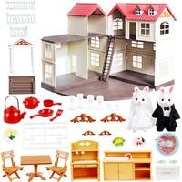 1:12 Forest Animal Family Villa family Character Toys Doll House Mini Bedroom Set Mini Living Room Furniture Gift For kids