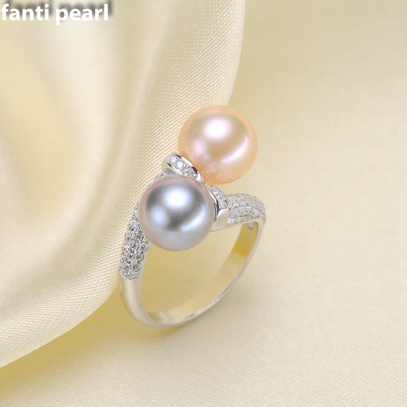 DIY Pearl Ring 925 silver Accessories Natural freshwater Pearl rings s925 Sterling Silver ring simple style 7-9 mm