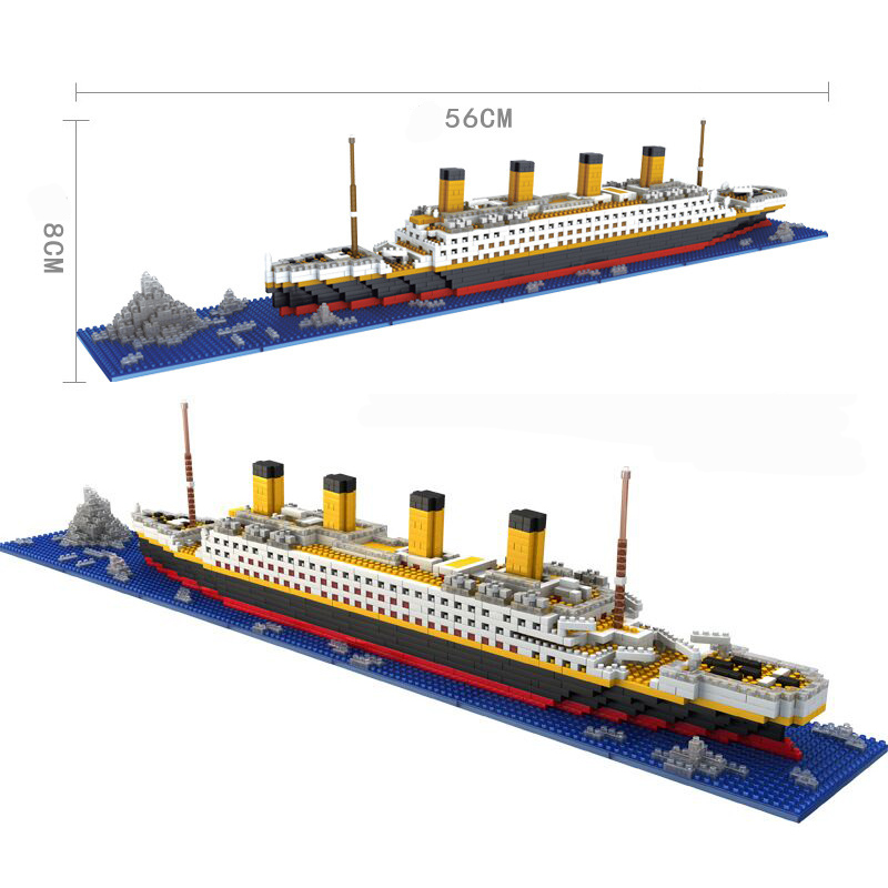 1860pcs Titanic Cruise Ship Building Brick Blocks DIY 3D Boat Model Kit Gift Toys Compatible with Creator 66503 rikuzo medieval carrack ship model building block set 3000pcs big ship nano micro blocks legoing diy toys gift