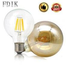 Светодиодный светильник накаливания G80 G95 G125 E27, винтажный светодиодный светильник Эдисона, 2 Вт, 4 Вт, 6 Вт, 8 Вт, большой Глобус, лампа для чая из прозрачного стекла, теплый желтый
