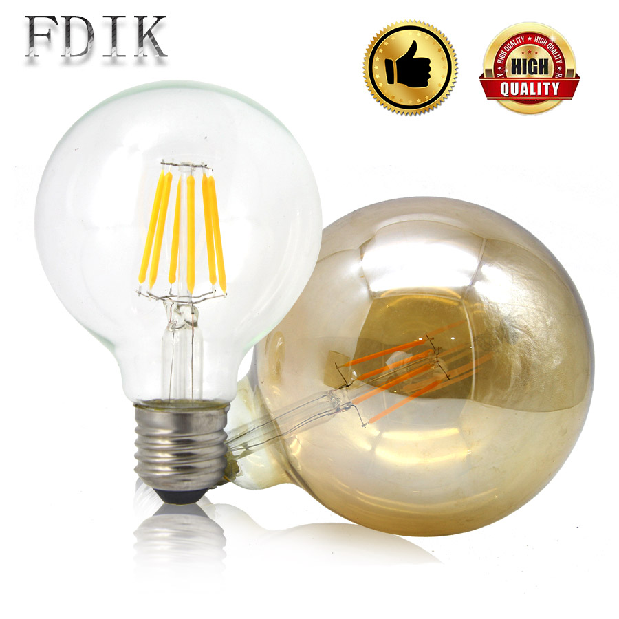 LED Filament Lamp G80 G95 G125 E27 Vintage Edison LED Bulb Light 2W 4W 6W 8W Big Globe Bulb Tea Transparent Glass Warm Yellow