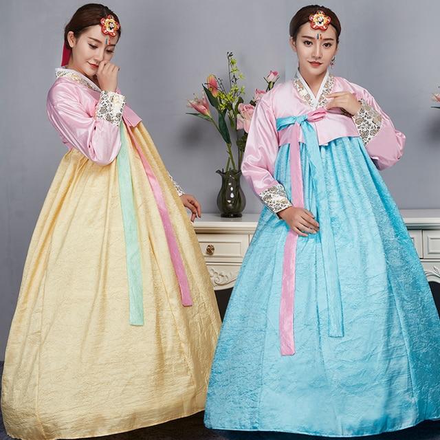 Hanbok Coreano Moda Femminile Vestito Tradizionale Abito di Corte  Abbigliamento Minoranza Coreano Danza Tradizionale per Lo 5d8aa1fb8c8