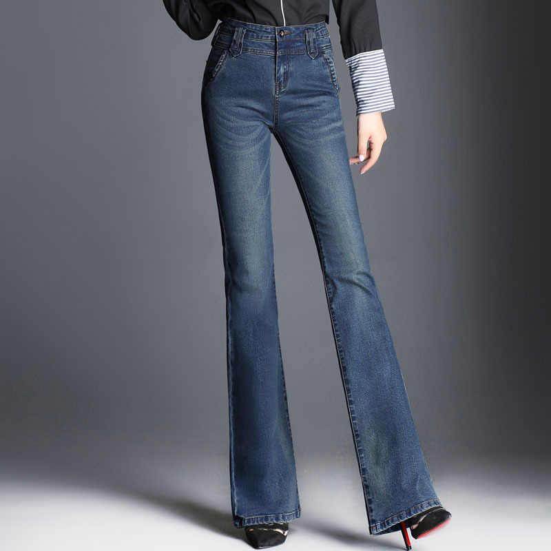 c9546330be7244 ... Women Washed Fishtail flared denim Trousers Big Size high waist Flare  Jeans Wide Leg Stretch Blue ...
