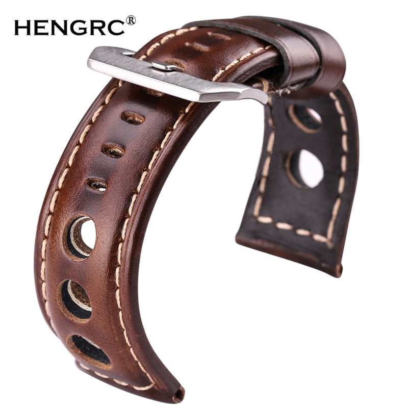 Oil Wax Cowhide Watchbands 22mm 24mm Dark Brown Women Men Fashion Genuine Leather Watch Band Strap Belt With Pin Buckle