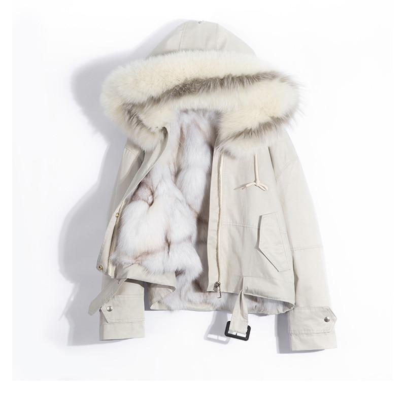 2018 натуральный Лисий мех воротник с капюшоном Свободная Женская парка зимняя куртка женская натуральный Лисий Мех Подкладка Толстая тепла
