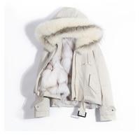2018 реальная лиса меховой воротник с капюшоном свободные женские парка зимняя куртка Для женщин натуральный Лисий Мех Лайнер толстые теплые