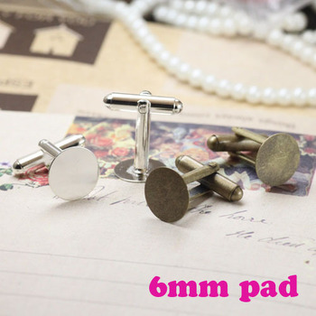 6mm Flat Pad Antique Bronze Plated 7 Colors  Cufflinks Cabochon Fashion Accessories Cuff Links Tray Bezels Blanks Base Settings