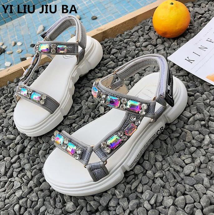 New Fashion Rhinestone Women Sandals 2019 Breathable Comfortable Non-slip Ladies Walking Summer Beach Sandals Shoes Women **477