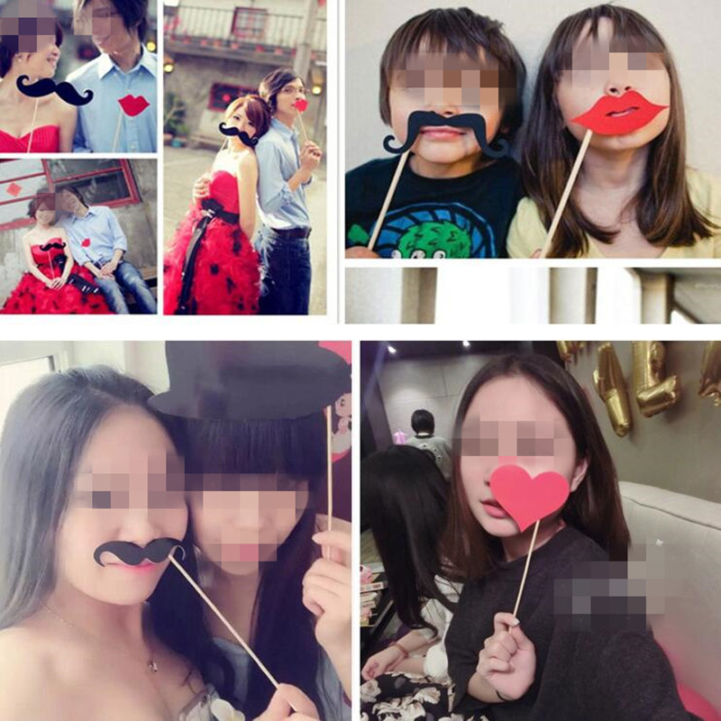 33pcs/set Moustache Red Lips On A Stick Photo Props Kids Adults Birthday Party Christmas New Year