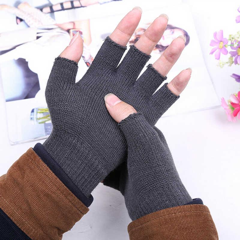 للجنسين محبوك تمتد مطاطا الدافئة نصف اصبع قفازات الأصابع الرجال النساء قفاز لفصل الشتاء