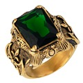 Men's Gold plated Vintage Emerlad Crystal Gothic Dragon Claw Biker Ring,Stainless steel Punk Biker Cross Band Ring jewelry