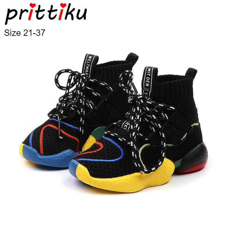 Autumn 2018 Toddler Boys Girls Hot Sock Sneakers Little Kid High Top Knit Booties Big Children Fashion School Brand Sport Shoes(China)