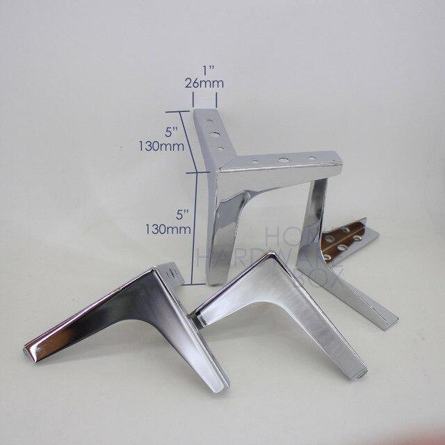 6 15cm Height 4x Table Leg Chrome Cabinet Feet Furniture Sofa Legs