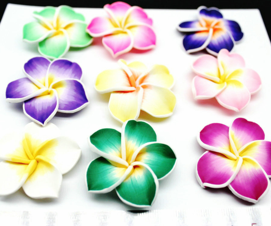 80pcs large mix color Plumeria - 35mm Polymer Clay Flowers - FIMO Flower Beads - Clay Flower Bead Plumeria DIY Beads