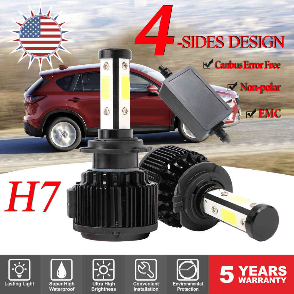 DIC H4 LED 64W 20000LM/pair 4-Sides COB Headlight H13 H11 H7 9005 9006 HB4 9007 9012 HIR2 5202 Canbus Car Light Bulb Head lamp